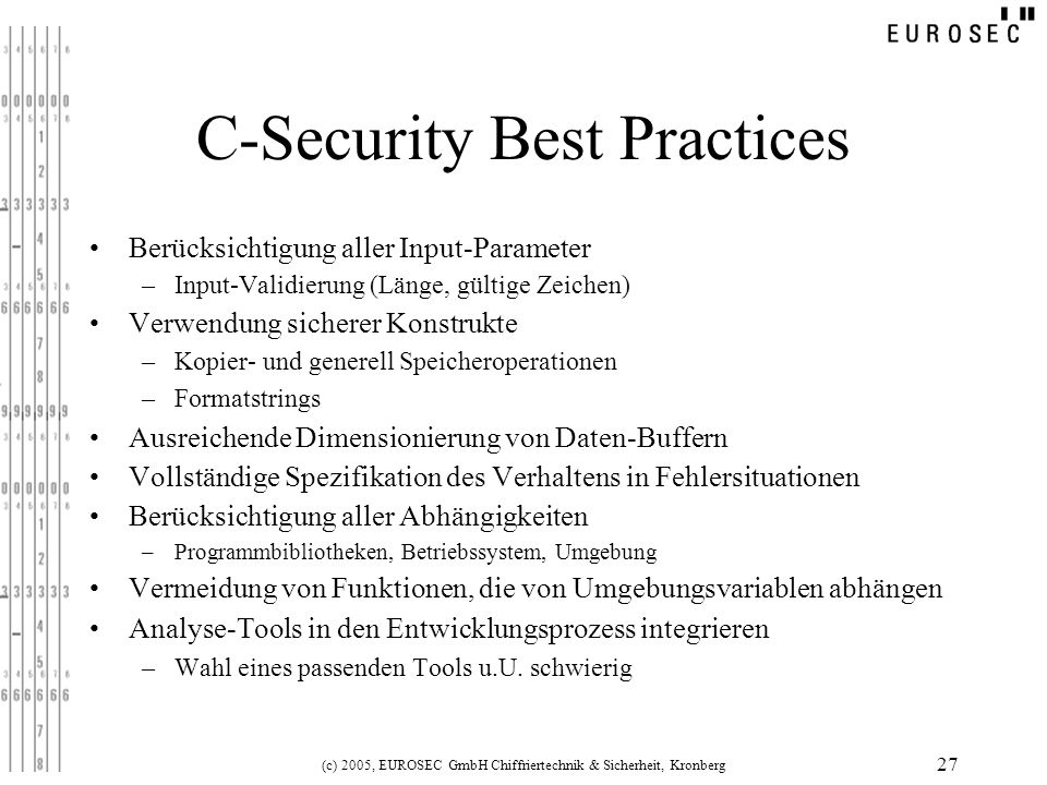 C-Security Best Practices