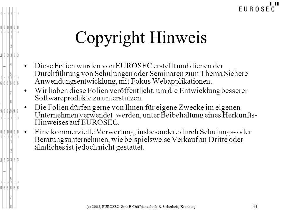 (c) 2005, EUROSEC GmbH Chiffriertechnik & Sicherheit, Kronberg