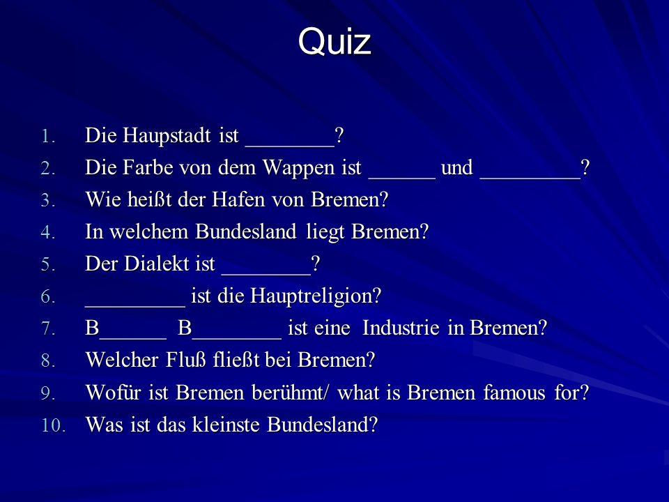 Quiz Die Haupstadt ist ________