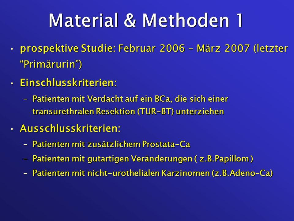 Material & Methoden 1prospektive Studie: Februar 2006 – März 2007 (letzter Primärurin ) Einschlusskriterien: