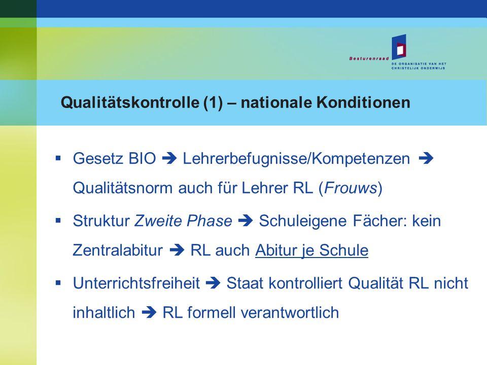 Qualitätskontrolle (1) – nationale Konditionen