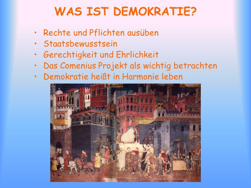 WAS IST DEMOKRATIE Rechte und Pflichten ausüben Staatsbewusstsein