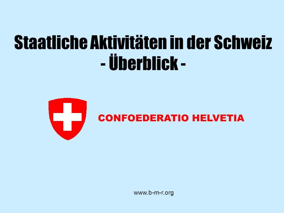 Staatliche Aktivitäten in der Schweiz - Überblick -