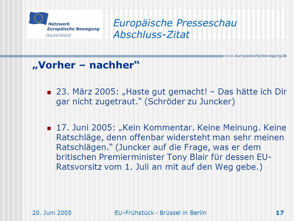 Europäische Presseschau Abschluss-Zitat