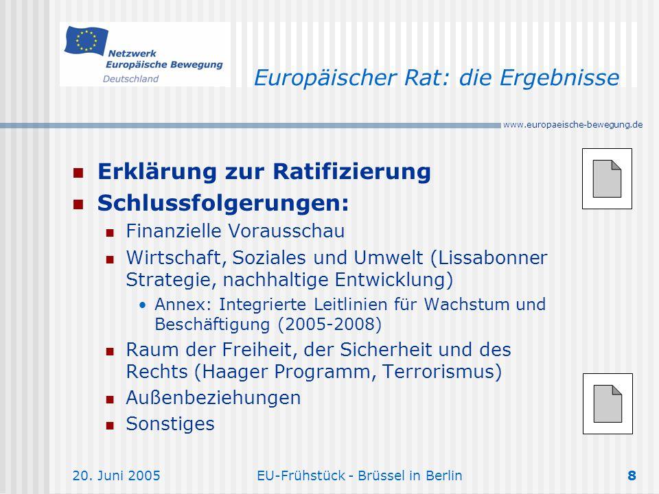 Europäischer Rat: die Ergebnisse