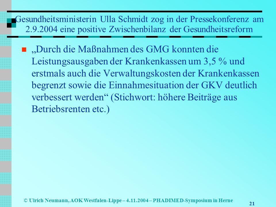 Gesundheitsministerin Ulla Schmidt zog in der Pressekonferenz am 2. 9