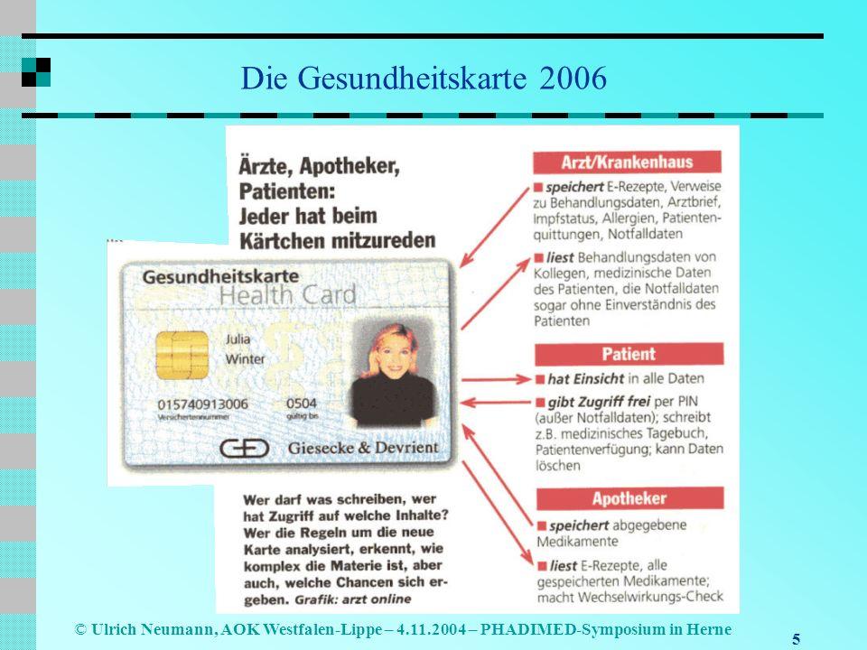 Die Gesundheitskarte 2006 Ulrich Neumann, AOK Westfalen-Lippe – 4.11.2004 – PHADIMED-Symposium in Herne.