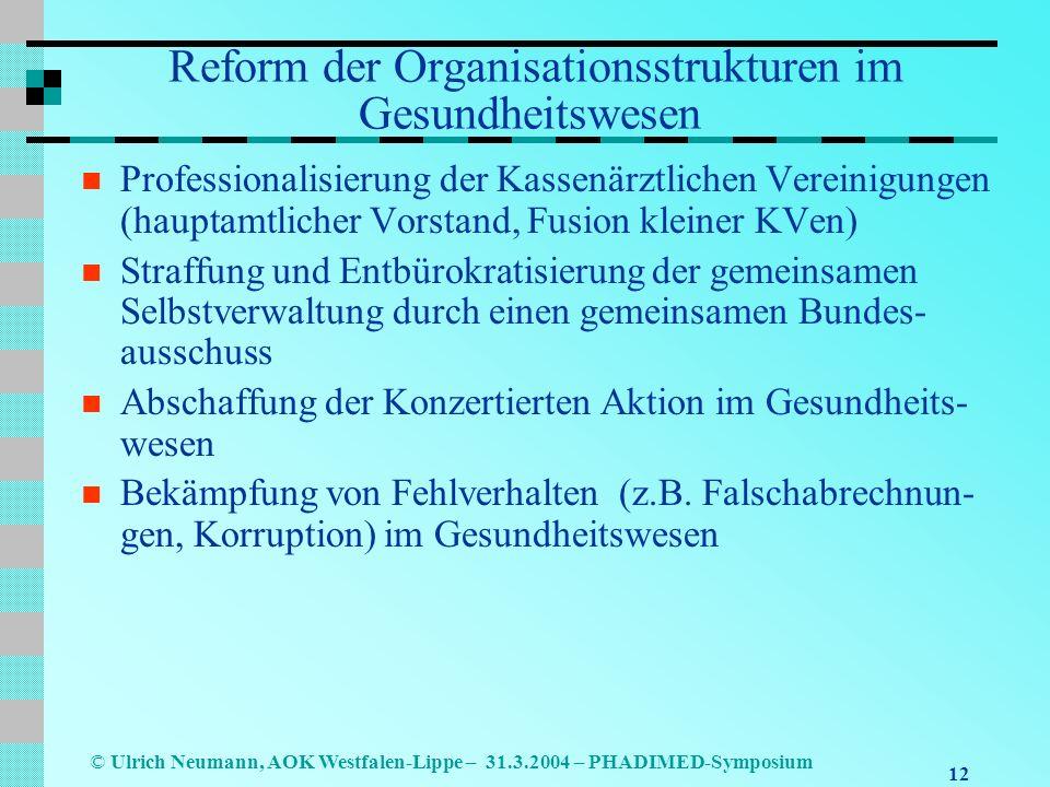 Reform der Organisationsstrukturen im Gesundheitswesen