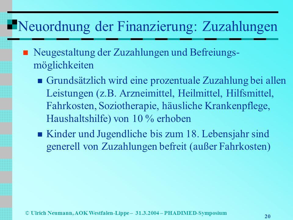 Neuordnung der Finanzierung: Zuzahlungen