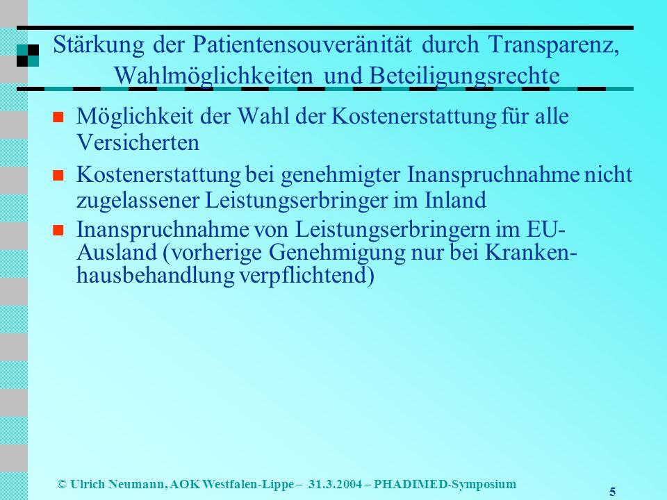 Stärkung der Patientensouveränität durch Transparenz, Wahlmöglichkeiten und Beteiligungsrechte
