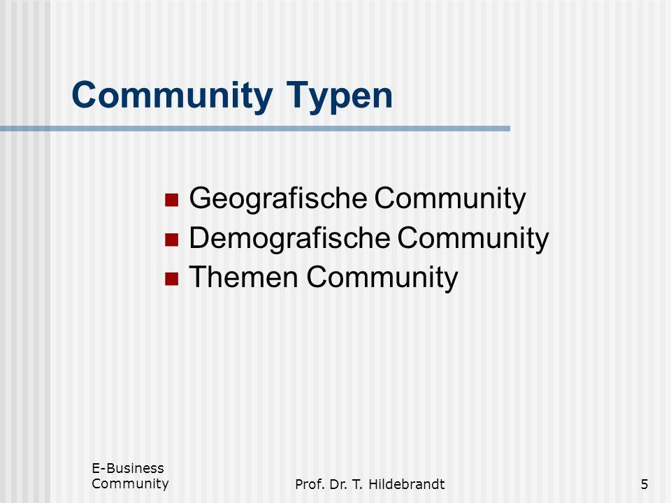 Community Typen Geografische Community Demografische Community