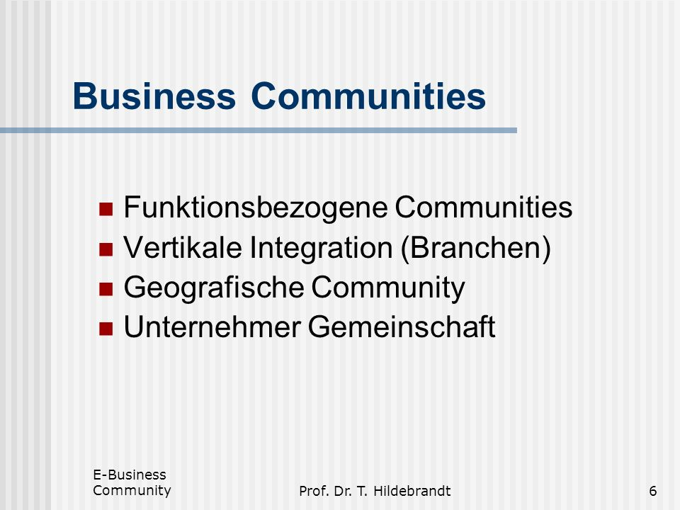 Business Communities Funktionsbezogene Communities