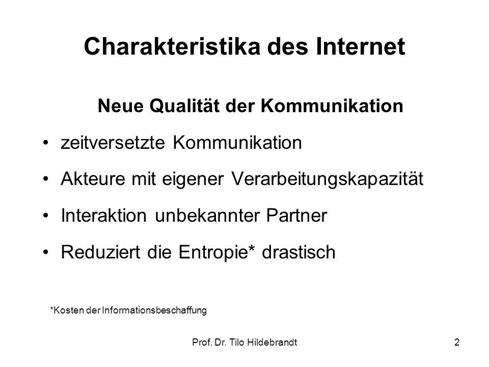 Charakteristika des Internet