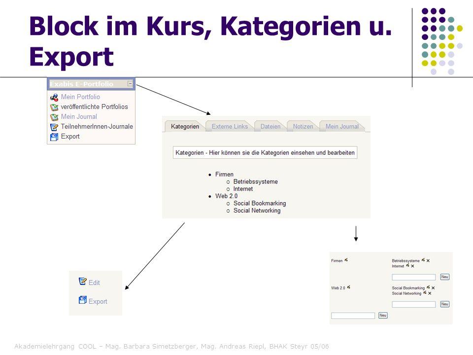 Block im Kurs, Kategorien u. Export