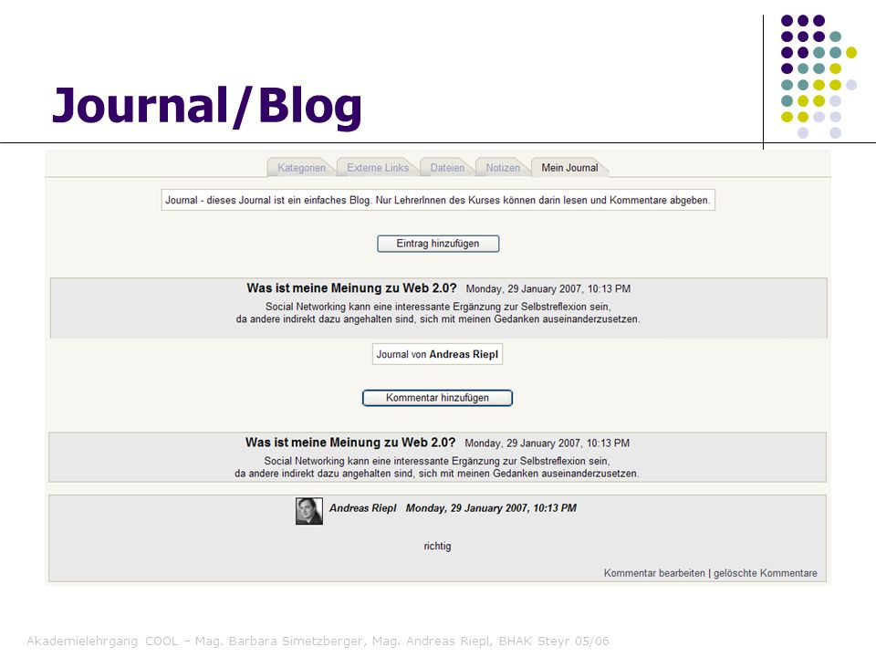 Journal/Blog