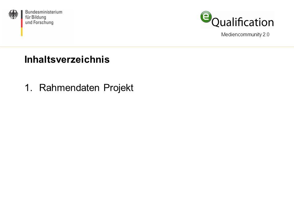 Mediencommunity 2.0 Inhaltsverzeichnis Rahmendaten Projekt