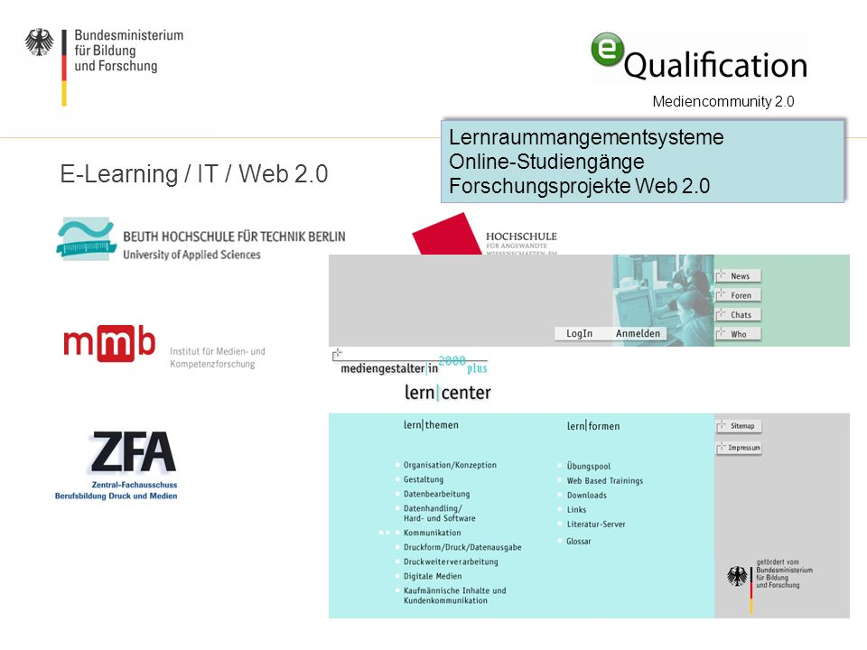 E-Learning / IT / Web 2.0 Lernraummangementsysteme Online-Studiengänge