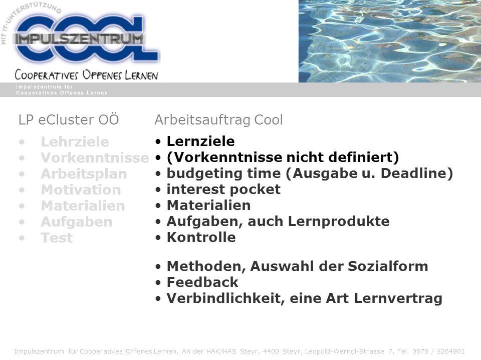 LP eCluster OÖ Arbeitsauftrag Cool. Lernziele. (Vorkenntnisse nicht definiert) budgeting time (Ausgabe u. Deadline)