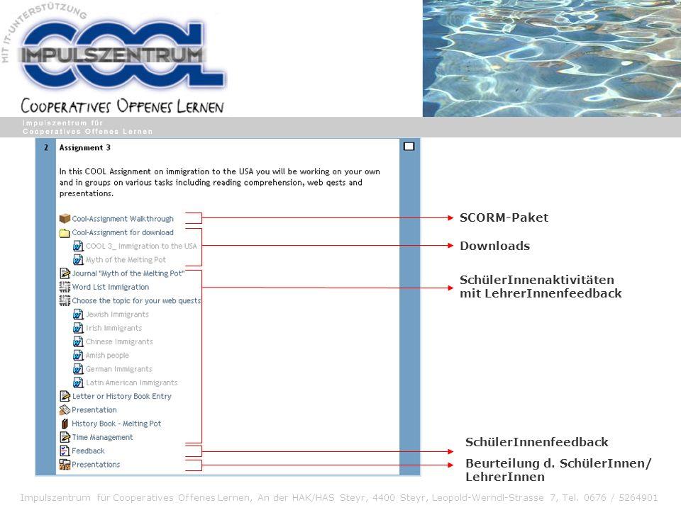 SCORM-PaketDownloads. SchülerInnenaktivitäten. mit LehrerInnenfeedback. SchülerInnenfeedback. Beurteilung d. SchülerInnen/