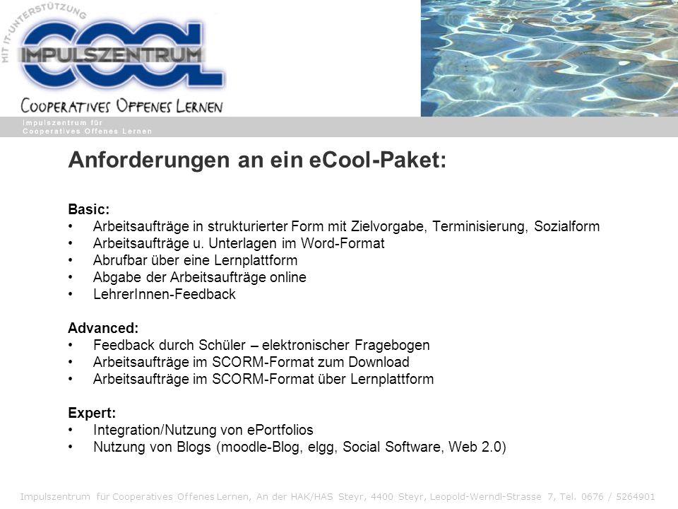 Anforderungen an ein eCool-Paket: