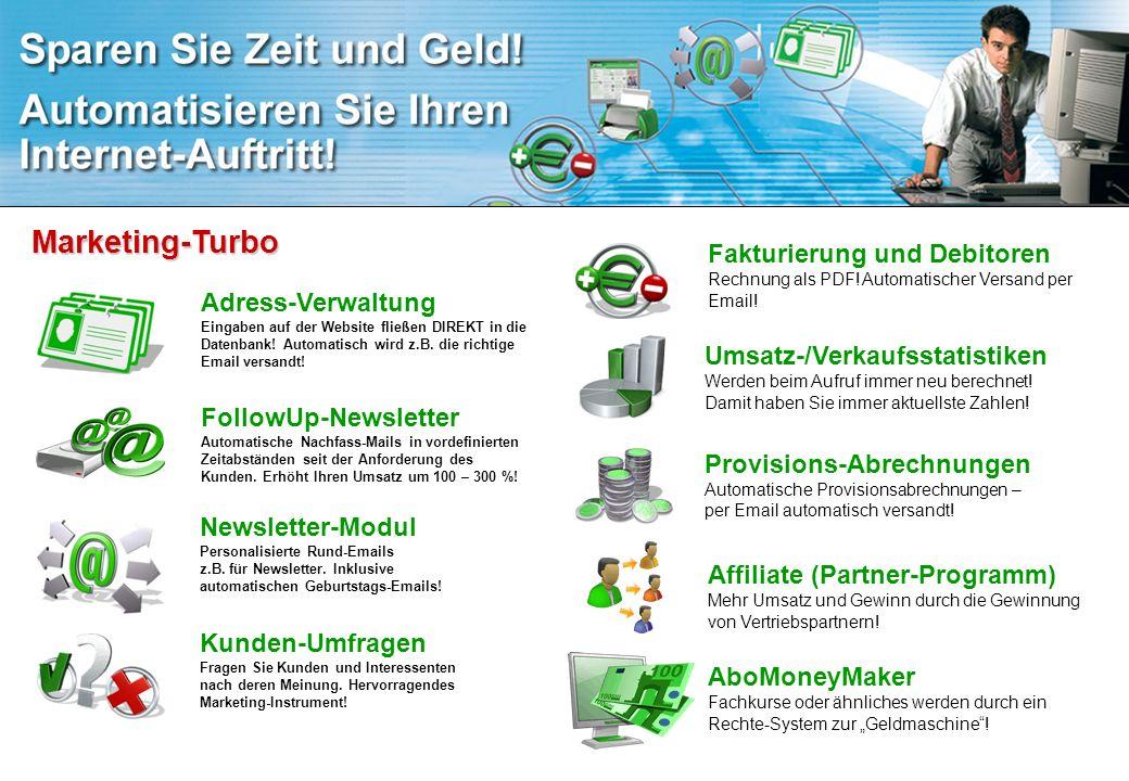 Marketing-Turbo Fakturierung und Debitoren Rechnung als PDF! Automatischer Versand per Email!
