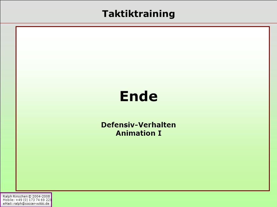 Taktiktraining Ende Defensiv-Verhalten Animation I