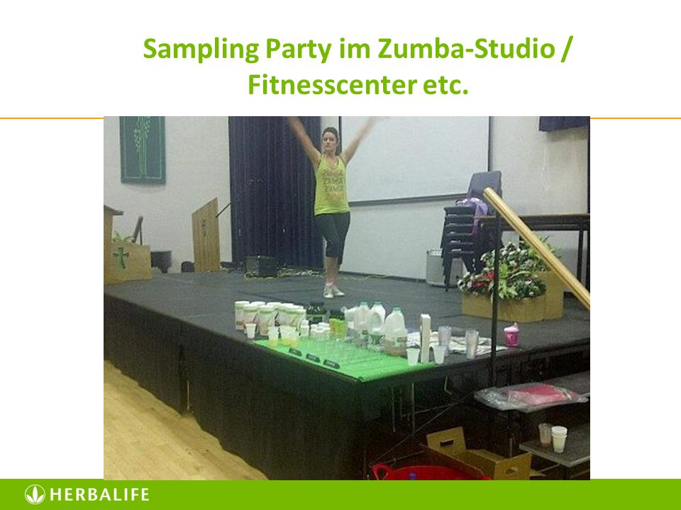Sampling Party im Zumba-Studio / Fitnesscenter etc.