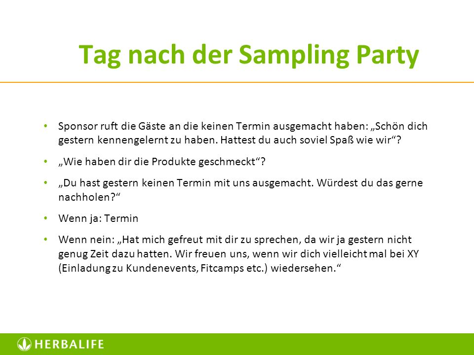 Tag nach der Sampling Party