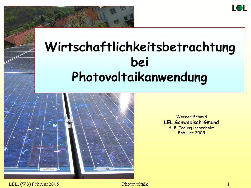 Wirtschaftlichkeitsbetrachtung Photovoltaikanwendung