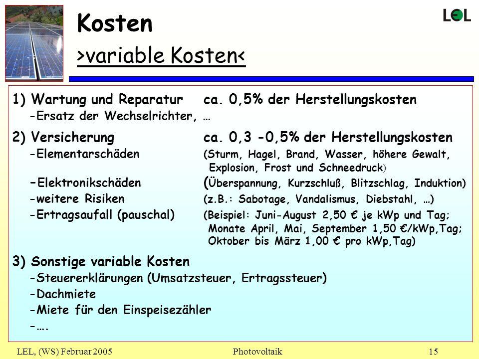 Kosten >variable Kosten<