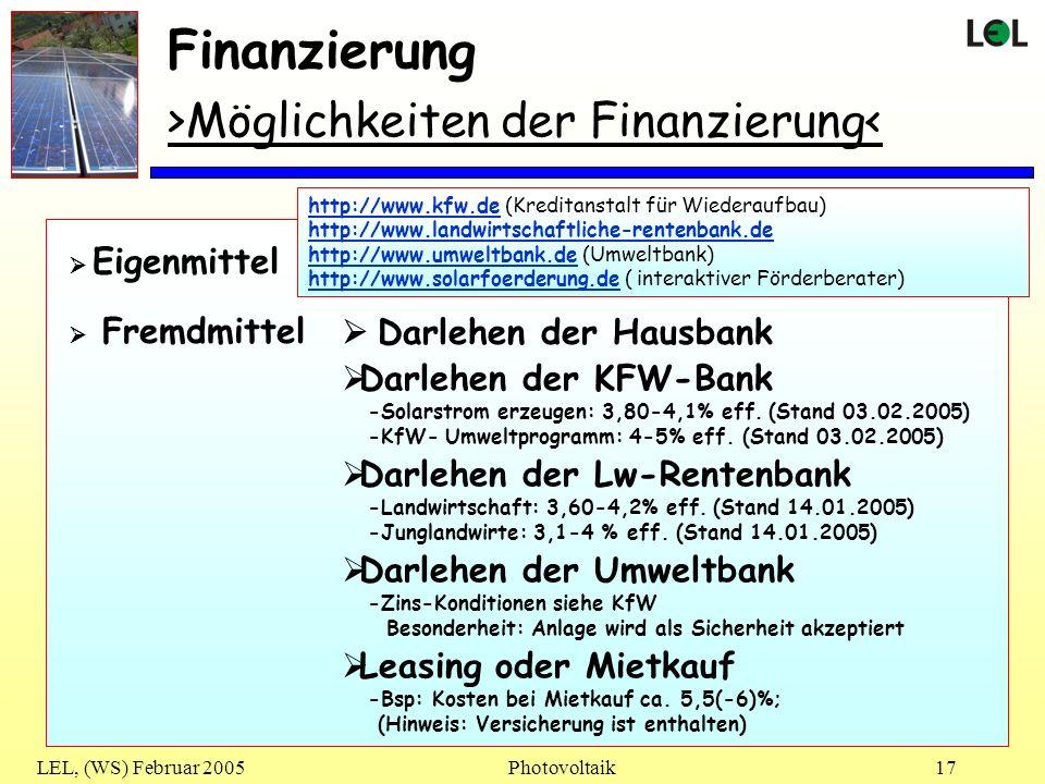 Finanzierung >Möglichkeiten der Finanzierung<