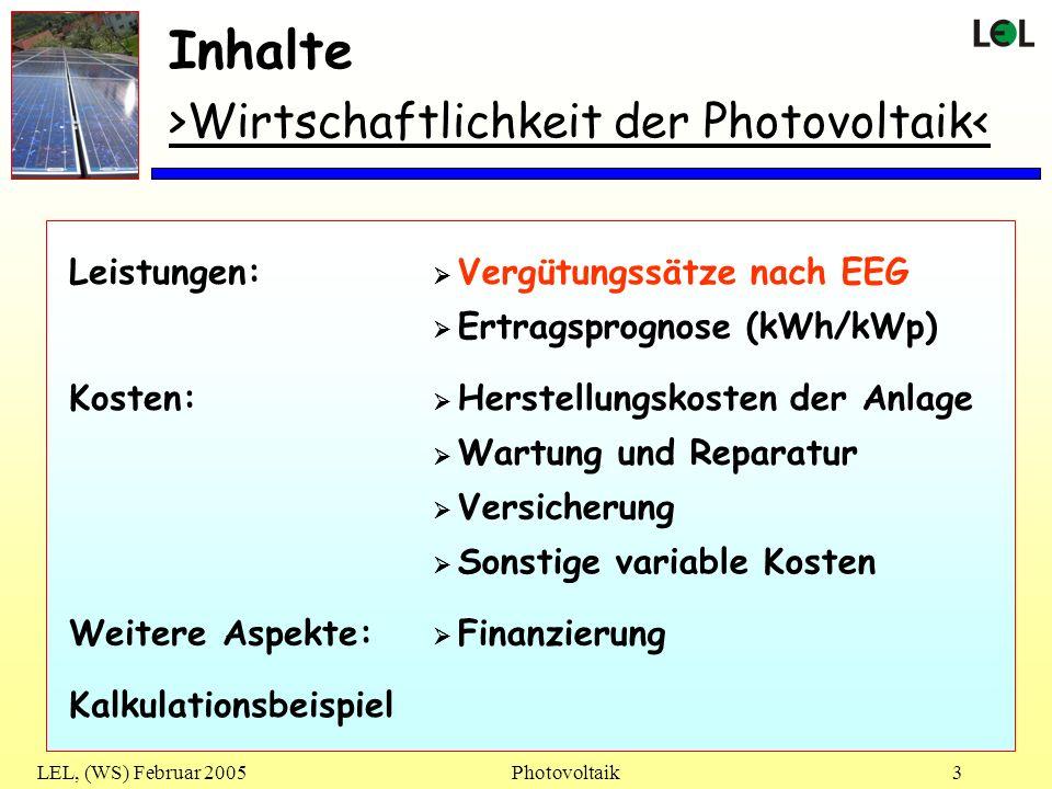 Inhalte >Wirtschaftlichkeit der Photovoltaik< Leistungen: