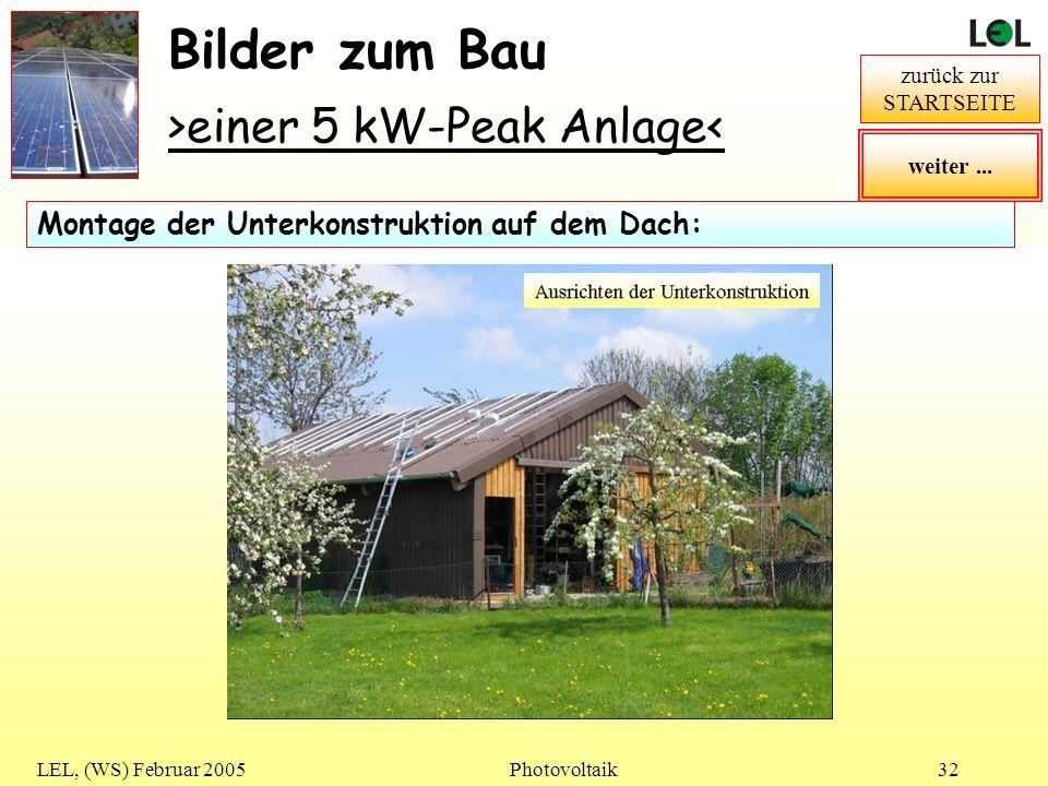 Bilder zum Bau >einer 5 kW-Peak Anlage<