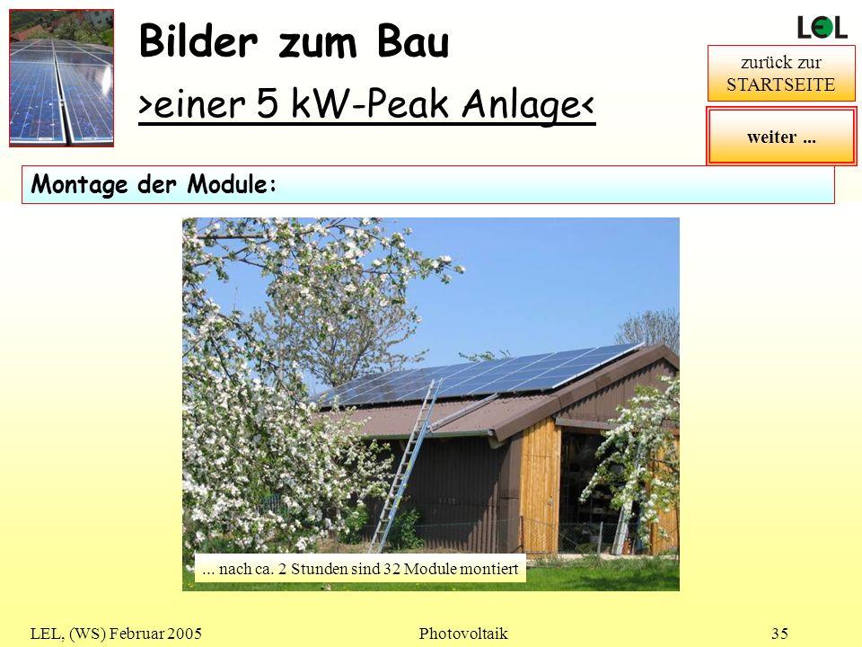 Bilder zum Bau >einer 5 kW-Peak Anlage< Montage der Module: