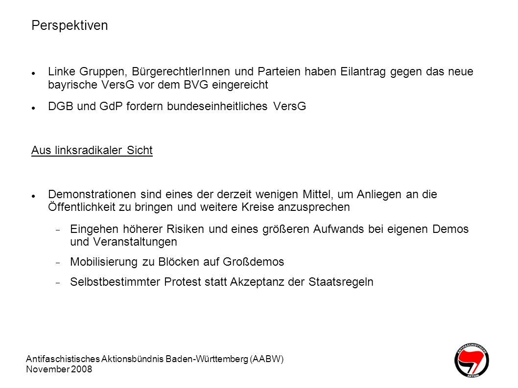Perspektiven Linke Gruppen, BürgerechtlerInnen und Parteien haben Eilantrag gegen das neue bayrische VersG vor dem BVG eingereicht.