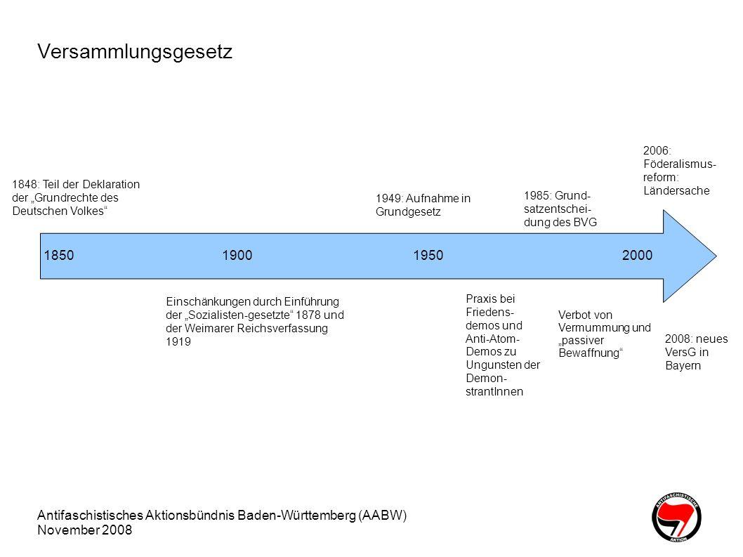 """Versammlungsgesetz 2006: Föderalismus-reform: Ländersache. 1848: Teil der Deklaration der """"Grundrechte des Deutschen Volkes"""