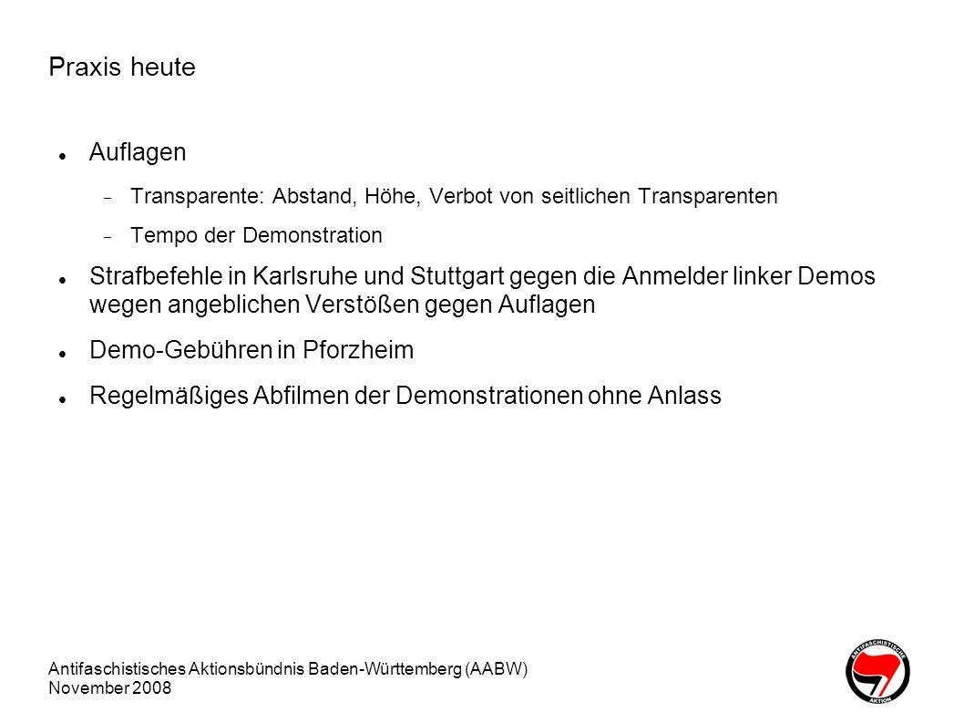 Praxis heute Auflagen. Transparente: Abstand, Höhe, Verbot von seitlichen Transparenten. Tempo der Demonstration.