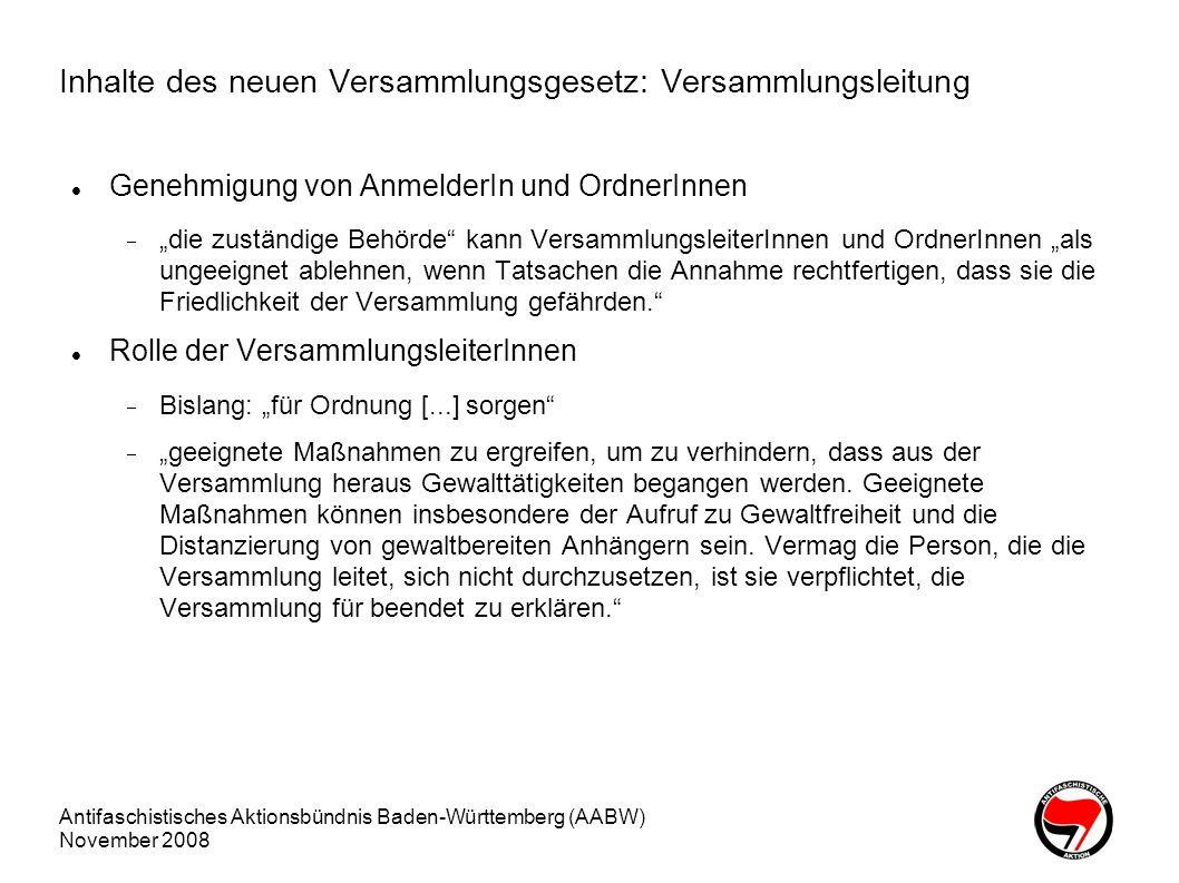Inhalte des neuen Versammlungsgesetz: Versammlungsleitung