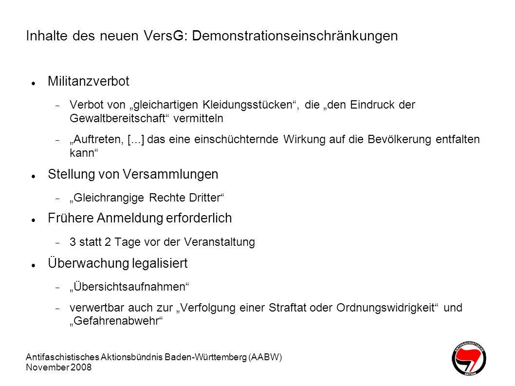 Inhalte des neuen VersG: Demonstrationseinschränkungen