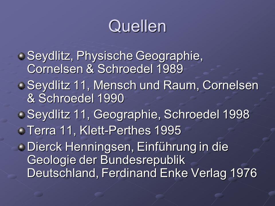 Quellen Seydlitz, Physische Geographie, Cornelsen & Schroedel 1989
