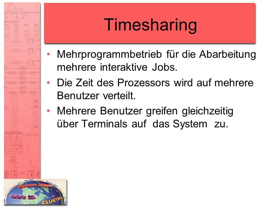 Timesharing Mehrprogrammbetrieb für die Abarbeitung mehrere interaktive Jobs. Die Zeit des Prozessors wird auf mehrere Benutzer verteilt.