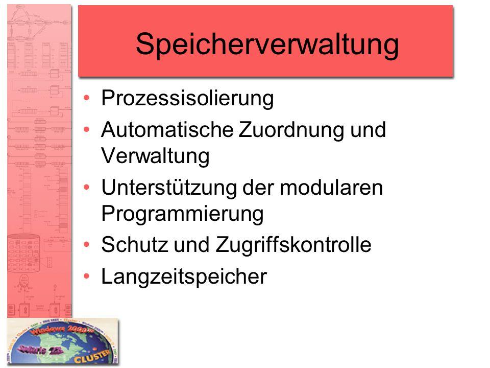 Speicherverwaltung Prozessisolierung