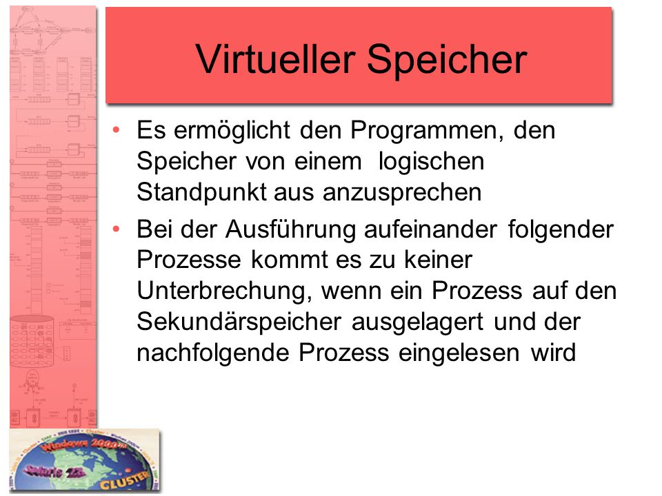 Virtueller Speicher Es ermöglicht den Programmen, den Speicher von einem logischen Standpunkt aus anzusprechen.