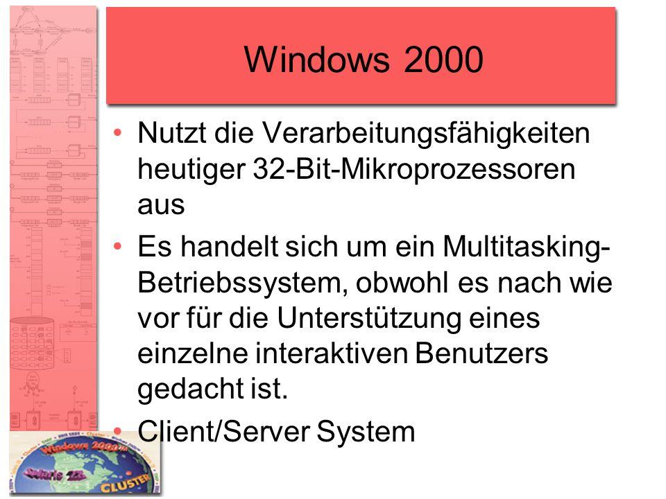 Windows 2000 Nutzt die Verarbeitungsfähigkeiten heutiger 32-Bit-Mikroprozessoren aus.