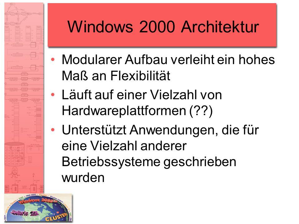Windows 2000 Architektur Modularer Aufbau verleiht ein hohes Maß an Flexibilität. Läuft auf einer Vielzahl von Hardwareplattformen ( )