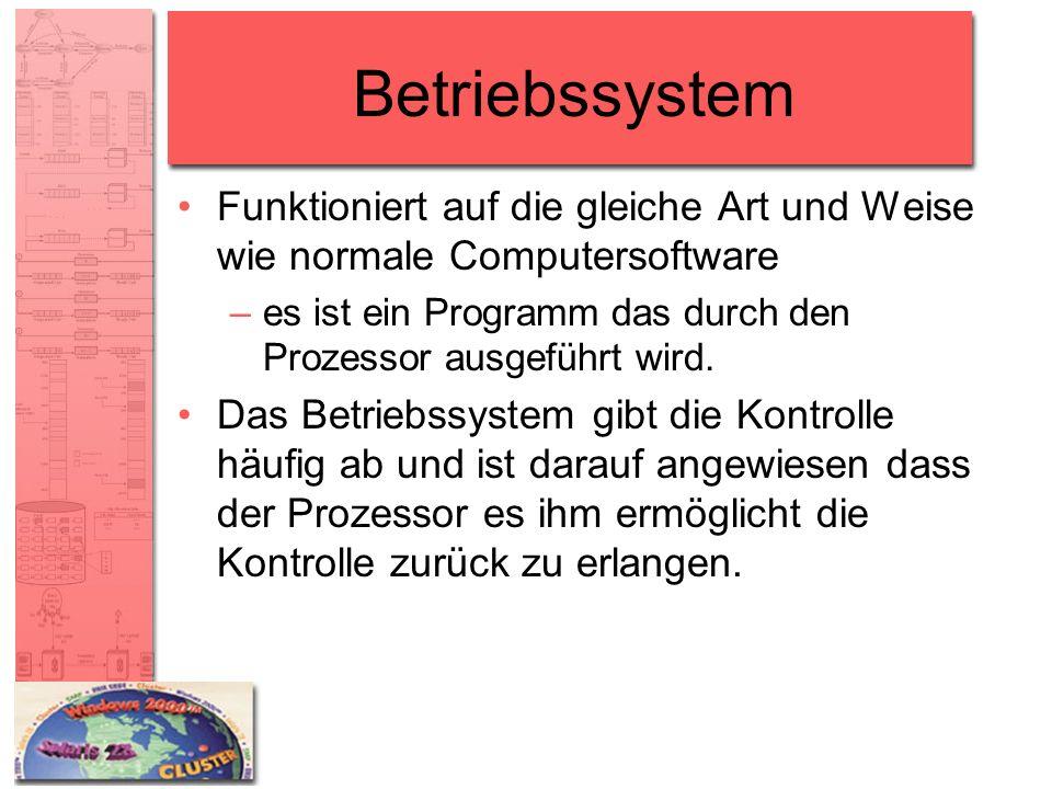 Betriebssystem Funktioniert auf die gleiche Art und Weise wie normale Computersoftware. es ist ein Programm das durch den Prozessor ausgeführt wird.