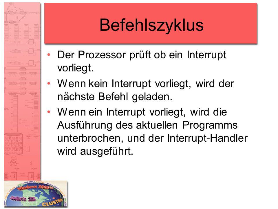 Befehlszyklus Der Prozessor prüft ob ein Interrupt vorliegt.