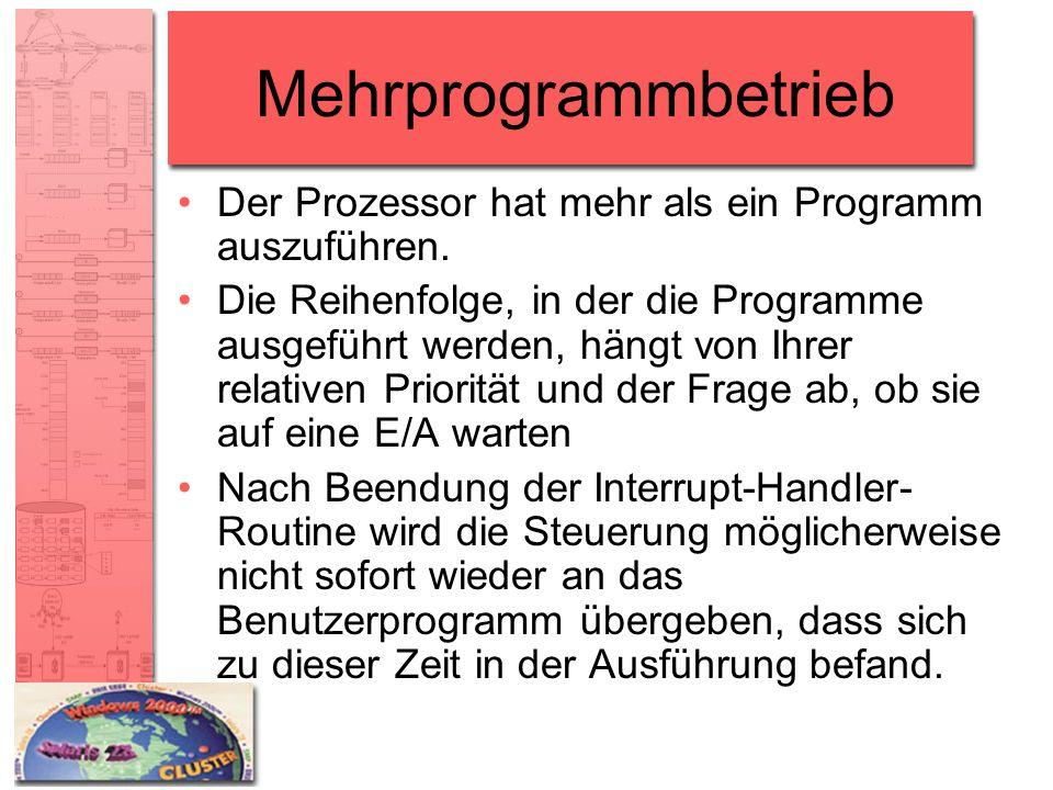 Mehrprogrammbetrieb Der Prozessor hat mehr als ein Programm auszuführen.