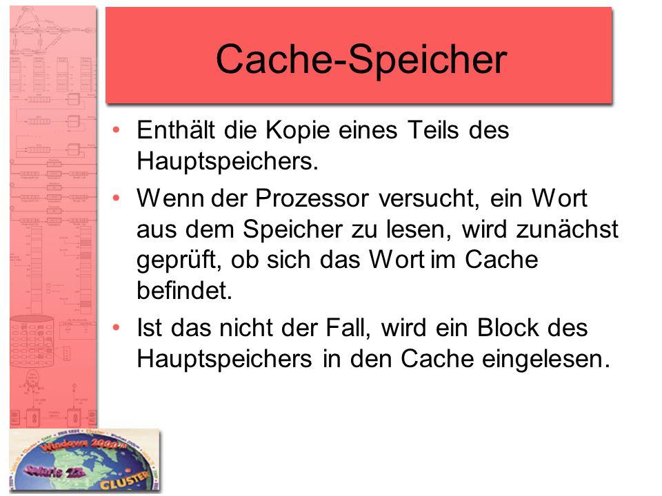 Cache-Speicher Enthält die Kopie eines Teils des Hauptspeichers.
