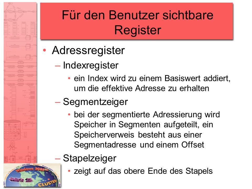 Für den Benutzer sichtbare Register